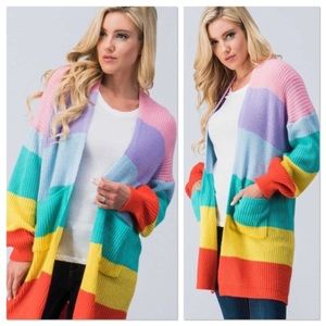 rainbow colorblock cardigan NEW